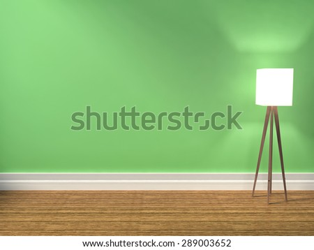 green interior with lamp. 3d iilustration - stock photo
