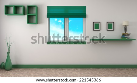 green interior with window. 3D illustration