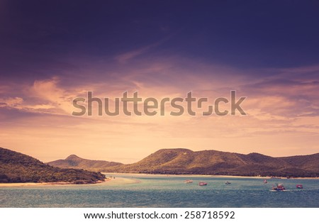 Green island and sea nature landscape in Thailand vintage - stock photo