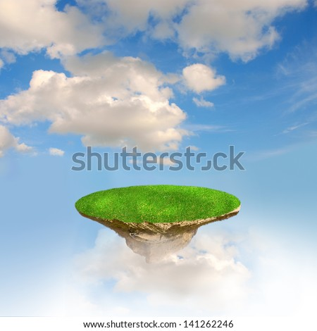 green island flaing in the air - stock photo