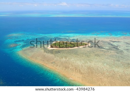 Green Island Great Barrier Reef, Cairns Australia seen from above - stock photo