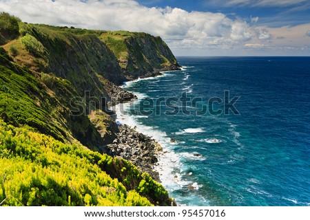 Green island in the Atlantic Ocean, Sao Miguel, Azores, Portugal - stock photo