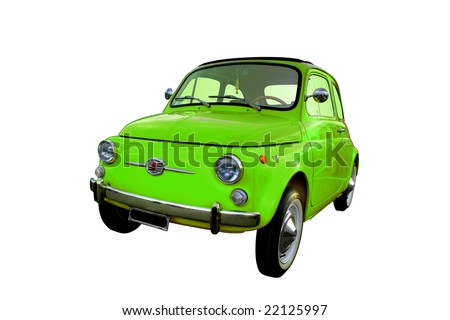 Green Italian Fiat 500 isolated on a white background - stock photo