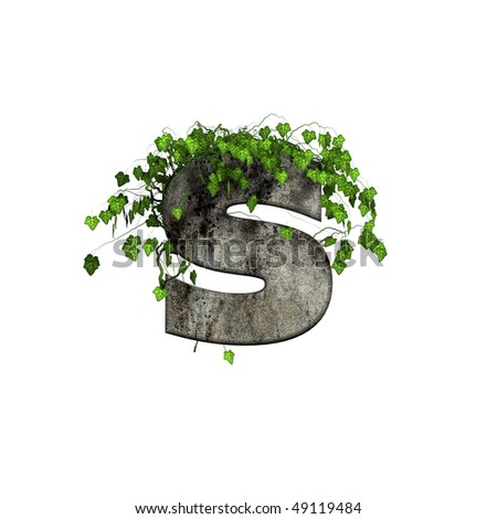 green ivy on 3d stone letter - s - stock photo