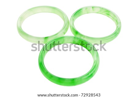 Green jade bracelet isolate on the white. - stock photo