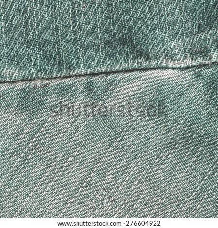 green jeans texture,seam - stock photo