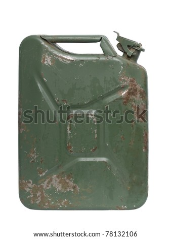 Green jerrycan isolated on white - stock photo