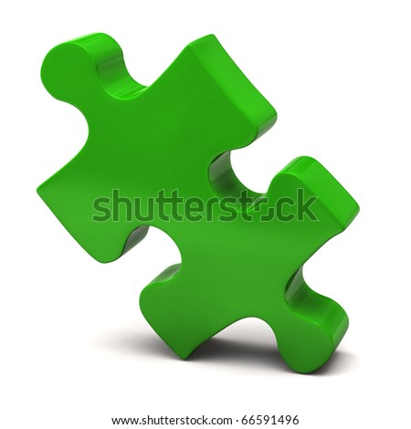Green Jigsaw Piece - stock photo