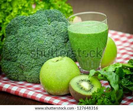 Green juice - green smoothie - stock photo