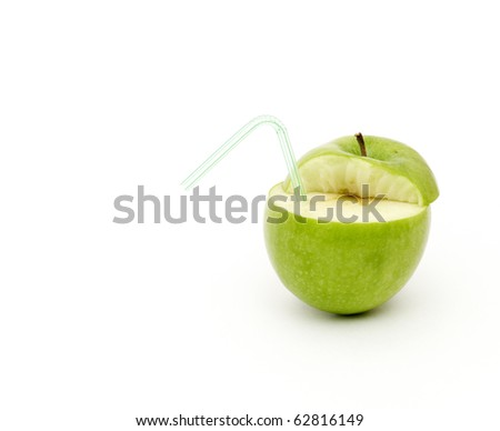 Green juicy apple isolated on white background