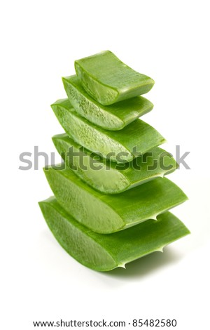 Green juicy slices of aloe vera isolated on white. Photo taken on: September 27th, 2011 - stock photo
