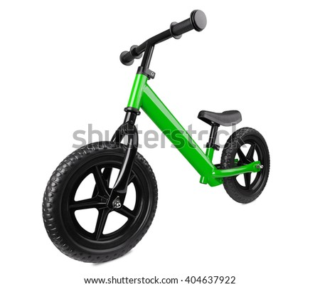 green kick scooter, isolated on white. kids' transport - stock photo
