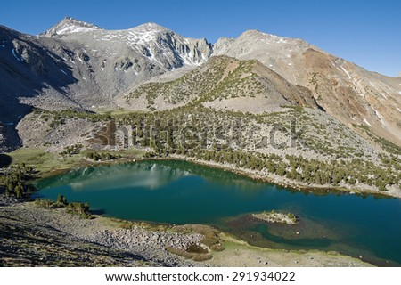 Green Lake and Vagabond Peak in the Sierra Nevada Mountains of California - stock photo