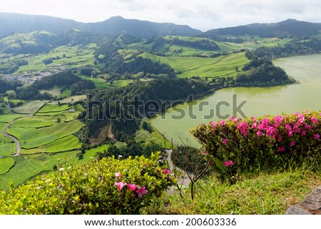 Green lake in Furnas from the island of Azores in Portugal - stock photo