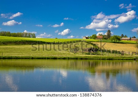 Green landscape and blue lake and sky, Prigorje region, Croatia