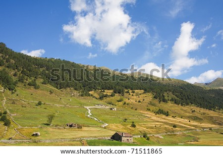 Green landscape at Vall d Incles in Andorra - stock photo