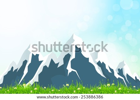 Green Landscape Background with Mountains - stock photo