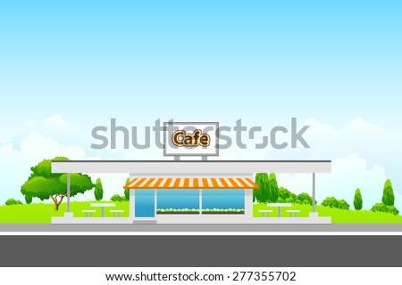 Green Landscape with cafe building and clouds - stock photo