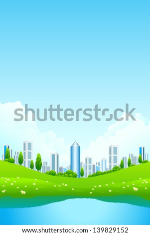 Green landscape with city lake and flowers - stock photo