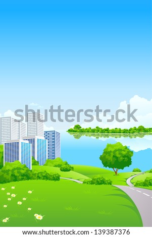 Green Landscape with City lake and trees - stock photo