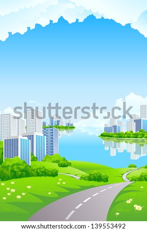 Green Landscape with City water and clouds - stock photo