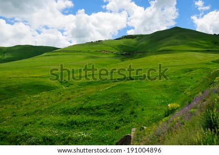 Green landscape with cloudy blue sky - stock photo
