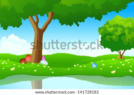 Green landscape with Easter eggs in the grass