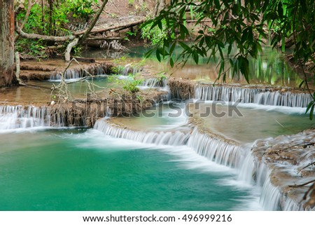 Green landscape with green waterfall , Erawan waterfall , Located Kanchanaburi Province , Thailand