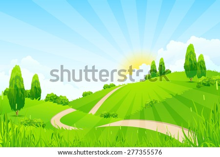 Green Landscape with Hills, Trees, Clouds, Sun and Road - stock photo
