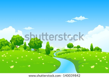 Green Landscape with river trees and flowers for your design
