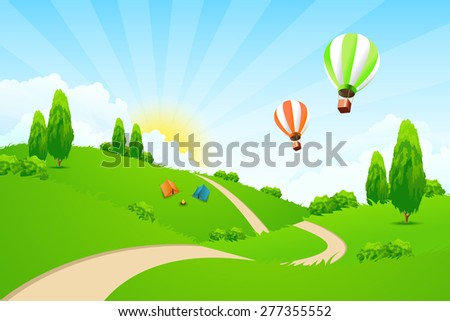 Green Landscape with Road, Hot-air-Balloons, Tourists Tents and Campfire - stock photo