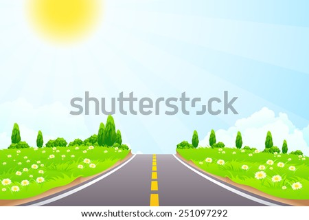 Green Landscape with trees clouds flowers and Road - stock photo
