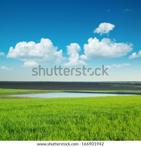 green lanscape with pond under blue sky - stock photo