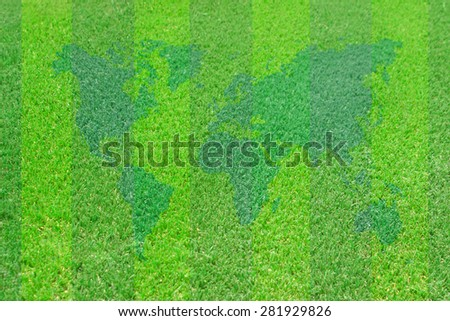 Green lawn for background.Sport and world map vintage pattern - stock photo