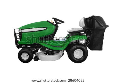 green lawn mower isolated - stock photo