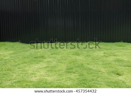 green lawn off black metal fence