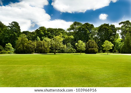 green lawn with some trees and blue sky clouds - stock photo