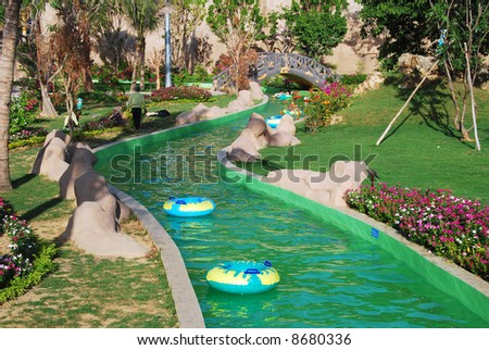 green lazy river in Vinpearl waterpark, Nhatrang Vietnam