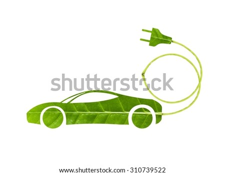 green leaf with a cut out car symbol, Ecology concept - stock photo