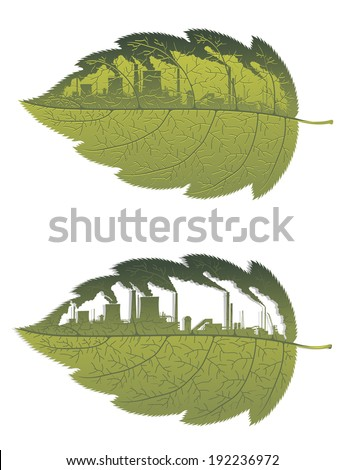 Green leaf with factory building for environment, ecology or pollution on nature concept. Vector version also available in gallery - stock photo