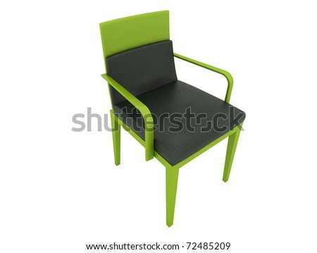 green leather chair isolated on white - stock photo