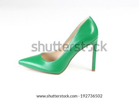 Green leather shoes - stock photo