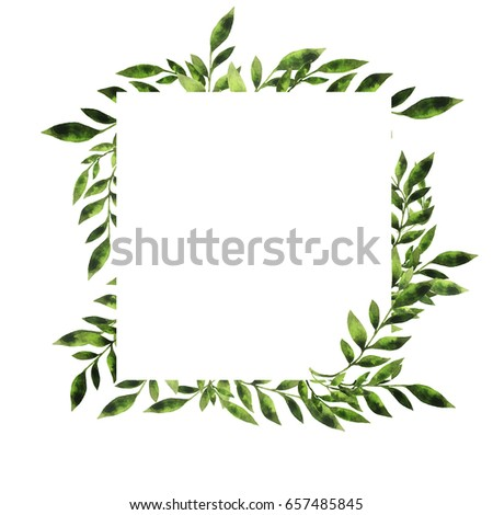 Green leaves branches border design greeting stock illustration green leaves and branches border design for greeting card or wedding invitation hand drawn m4hsunfo