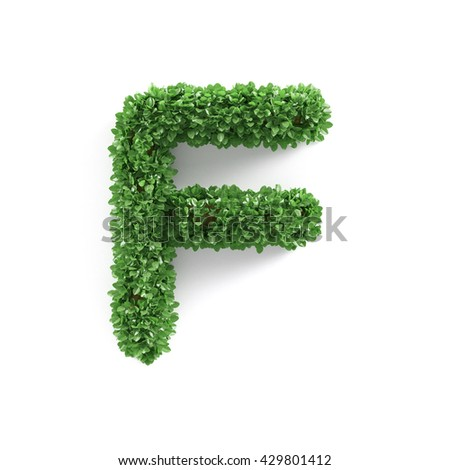 Green leaves F ecology letter alphabet font isolated on white background. 3d rendering - stock photo