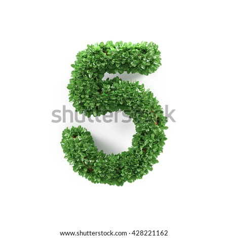 Green leaves 5 five ecology digits alphabet font isolated on white background. 3d rendering - stock photo