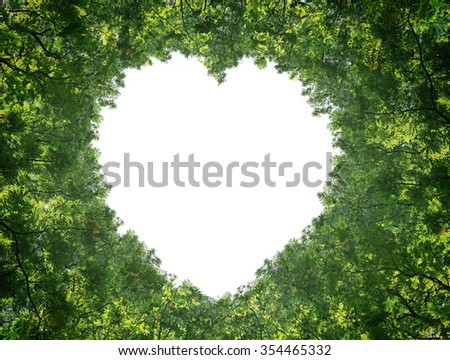 Green leaves isolated on white background in the middle of the heart.