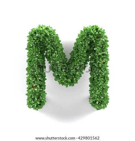 Green leaves M ecology letter alphabet font isolated on white background. 3d rendering