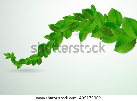 green leaves on a white background, illustration of ecology concept. Eco Concept with glossy fresh green leaves Raster version - stock photo