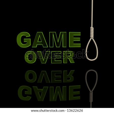 Green letters and rope loop. Object over black - stock photo