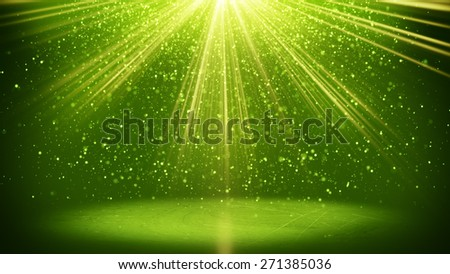 green light beams and particles. computer generated abstract background - stock photo